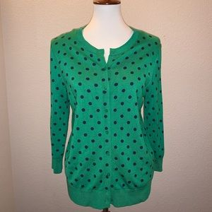 NWT Ellen Tracy Polka Dot Medium Cardigan Sweater